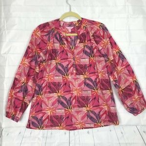 Lilly Pulitzer Pink Floral Blouse Shirt Top Sz M